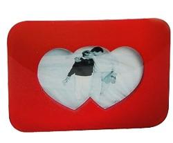 Fotorahmen Doppel-Herz Glas