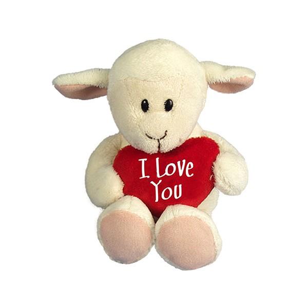 I-Love-You Lamm mit Herzkissen