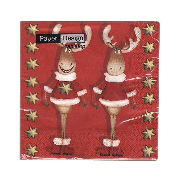 Weihnachts-Servietten Elchpaar Waldemar