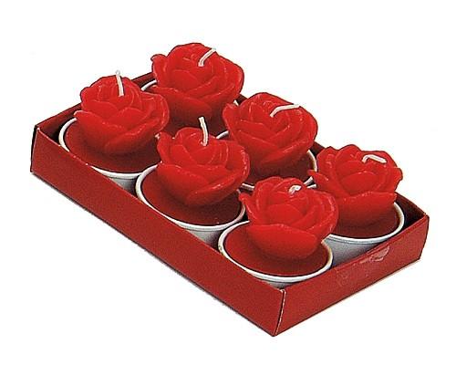 Rote Teelichter Rose 6er Set