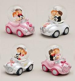 Schneekugel Brautpaar im Auto