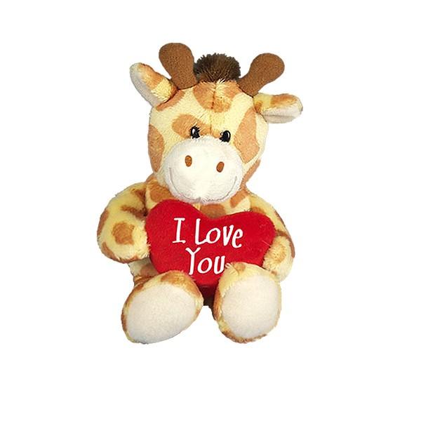 I-Love-You Giraffe mit Herzkissen