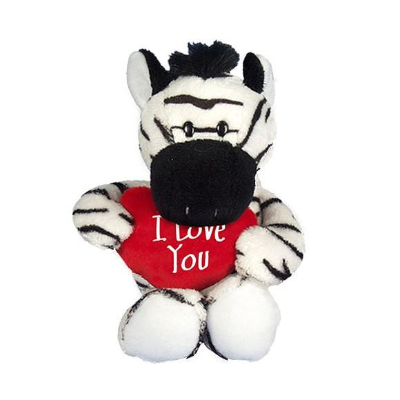 I Love You Plüsch-Zebra mit Plüschherz