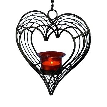 Herz-Teelichthänger, Draht mit Glas
