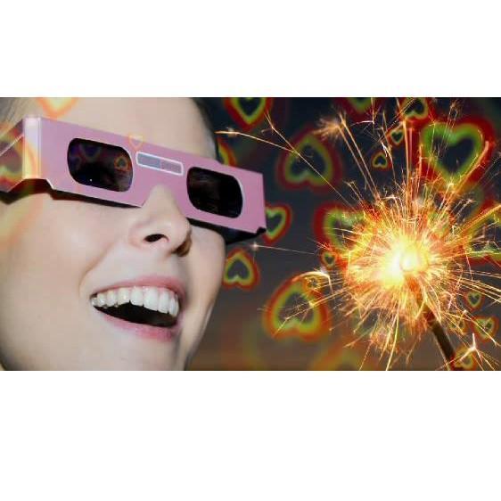 Rosa Brille Herz einzeln