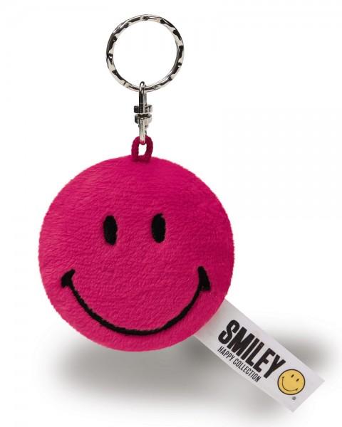 Runder Plüsch-Anhänger NICI Smiley magenta-rot, 6 cm