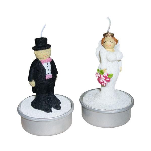 2 Teelichter Braut und Bräutigam