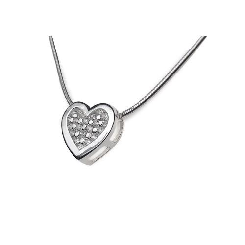 Herzanhänger Silber mit Zirkonia, mit Rand