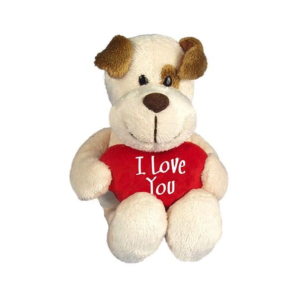 I-Love-You Hund mit Herzkissen