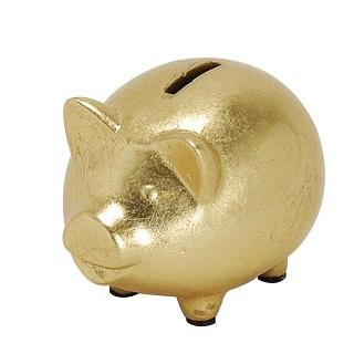 kleines Sparschwein gold, Keramik