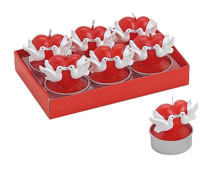Herzteelichter rot mit Taube 6er Set