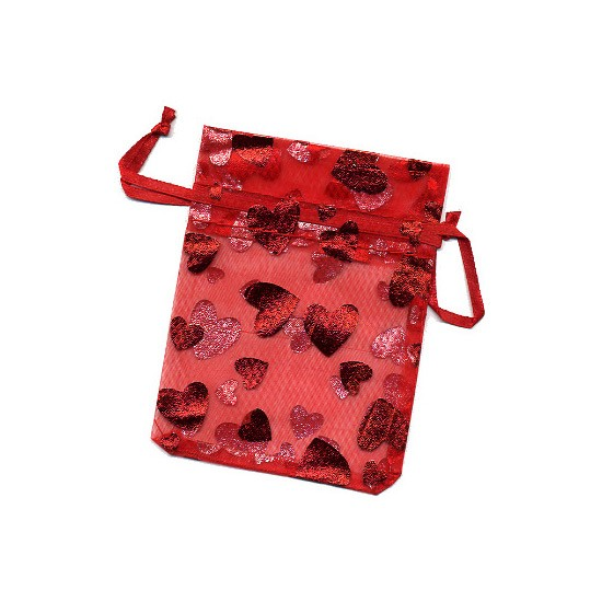 Organzabeutel rot mit Glanzherzen 11x7cm