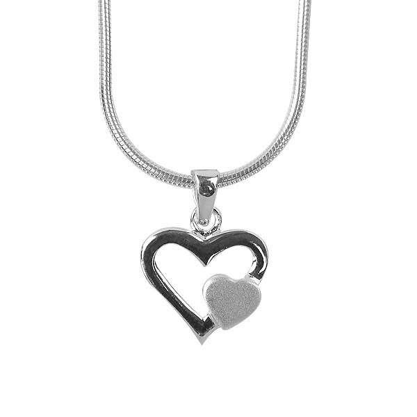 Herzanhänger Silber, Herz an Herz