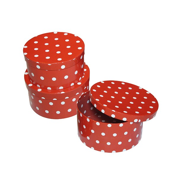 runde Schachtel Pappe rot mit weißen Punkten