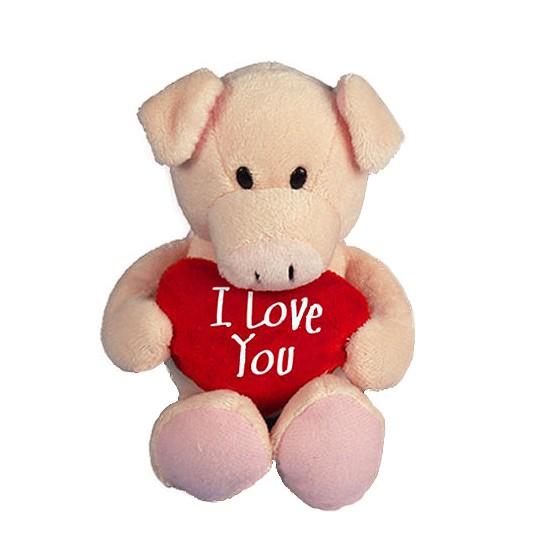I Love You Plüschschweinchen mit Herzkissen