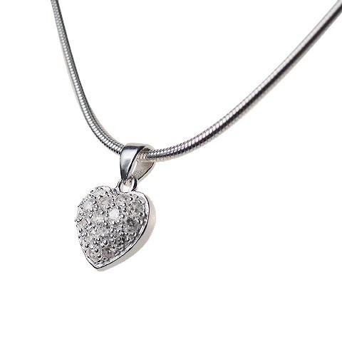 Herzanhänger Silber mit Zirkonia