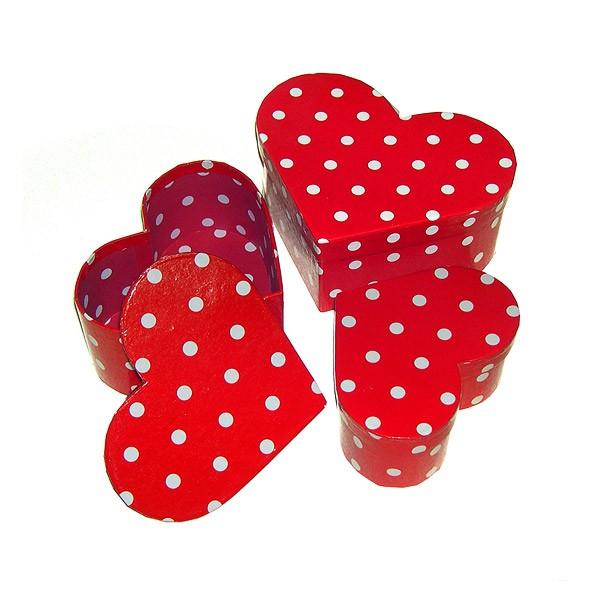 Herzschachtel Pappe rot mit weißen Punkten