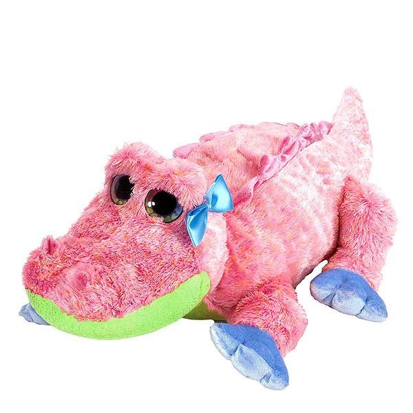 Plüschtier Alligator in Pink, grüner Bauch