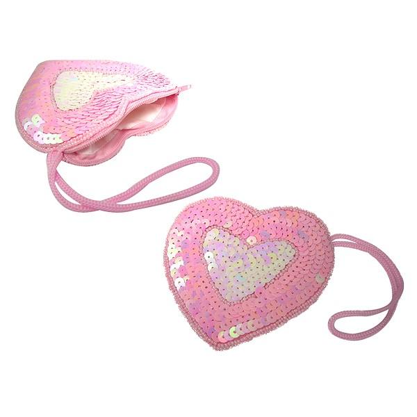 Pailletten-Herztasche pink