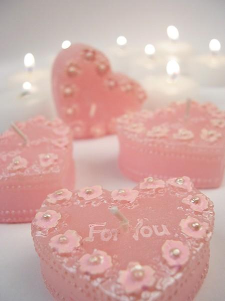 Romantik-Herzkerzen, 4er Set